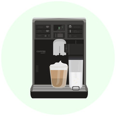 Flat office coffee machine with cup. Home coffee maker icon. Modern design. Kitchen barista equipment. Raster illustration isolated on white.