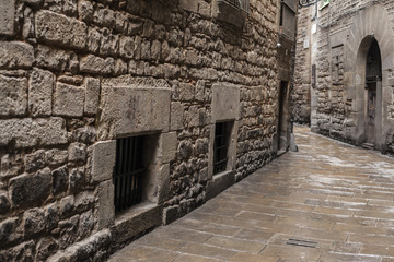 Ancient street in Call Jueu ,Jewish quarter, gothic quarter of Barcelona,Spain.