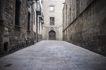 Ancient street in gothic quarter near to cathedral of Barcelona,Spain.