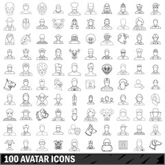 100 avatar icons set, outline style