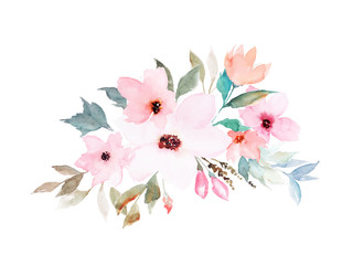 Watercolor floral template for wedding cards, invitations, Easter, birthday. Vector illustration