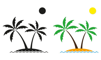 Palm tree icon set. Vector palm trees on the island. Landscape template.