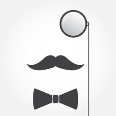 Monocle or eyeglasses, mustache and bow tie. Old fashioned gentleman accessories icon. Vintage or hipster style. Vector illustration.