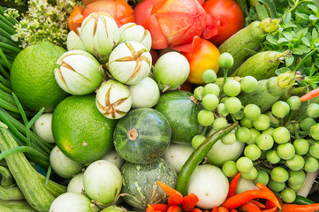 Different raw vegetables background , Healthy eating , organic vegetables herb
