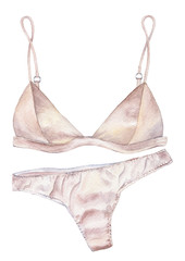 Watercolor illustration set of silk lingerie. Satin bra and panties.