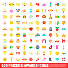 100 prizes and awards icons set, cartoon style