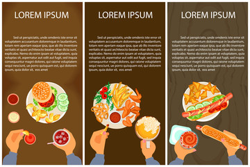 Set of Persons are eating, top view. Fast food Menu Vector illustration eps 10