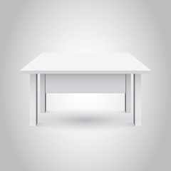 Vector 3d table for object presentation. Empty white top table isolated on gray background.