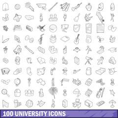 100 university icons set, outline style