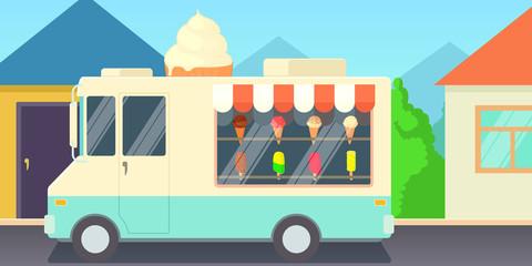Ice cream horizontal banner shop, cartoon style