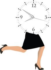 donna che corre con orario appuntamento di lavoro