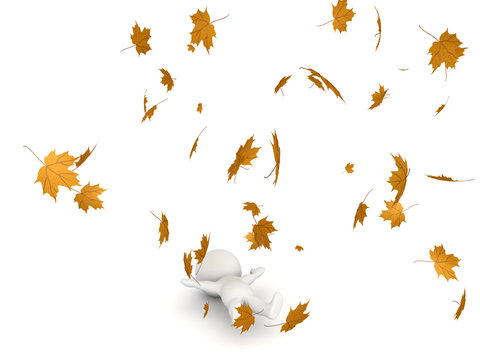 3D Character lying down while autumn leaves are flying around him