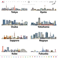 Fototapete - vector illustration of japanese city skylines with location, navigation and travel icons; flag and map of Japan