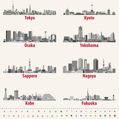 vector illustration of japanese city skylines in grey scales color palette with location, navigation and travel icons; flag and map of Japan