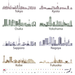 Fototapete - vector illustration of japanese city skylines in bright color palettes with location, navigation and travel icons; flag and map of Japan