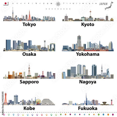 Fototapete vector illustration of japanese city skylines with location, navigation and travel icons; flag and map of Japan