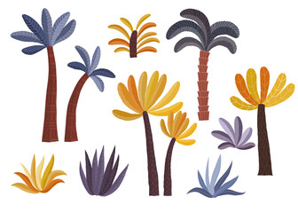 Cartoon palm trees set.