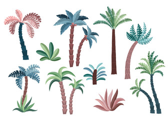 Tropical palm trees set.