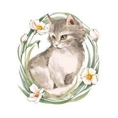 Cat and flowers. Watercolor illustration
