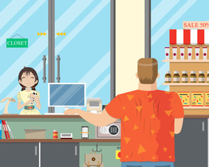 A little girl is buying milk at a convenience store. Vector illustration.
