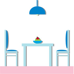 Dining room Modern with furniture. Flat Vector Illustration.
