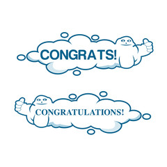 congratulations with clouds. Vector design for postcard, poster, graphics. Text with cloud. Space for text.