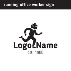 Sign office worker hurries to work