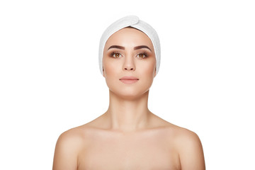 Beautiful woman with pure skin with bandage on head.