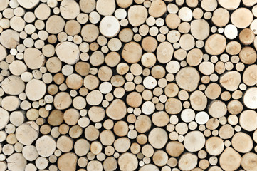 Wooden log wall or decorative pyre