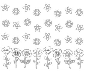 Black and white illustration with flowers for coloring book, vector