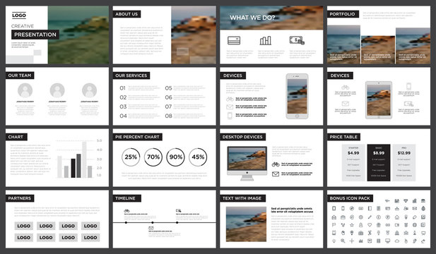 Minimal black and white presentation template. You can use it presentation, flyer and leaflet, corporate report, marketing, pitch, annual report, catalog.