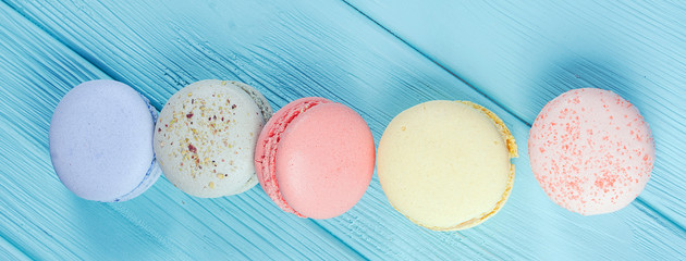 Banner of sweet colorful macaroons vintage effect, selective focus