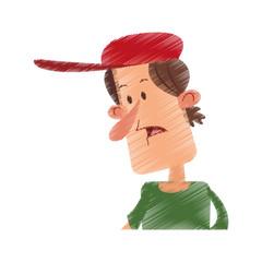 confused man wearing baseball cap cartoon icon image vector illustration design