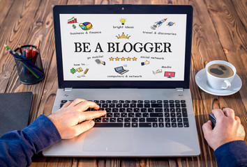 Be A blogger Concept In Home Office