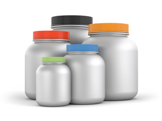 Jars with colored lids. 3d illustration