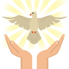 hand with holy spirit catholic vector illustration eps 10