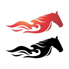 The Fire Horse, Toned Running horse fiery. the color of fire and black.