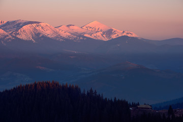 Spring mountains in the morning light. Carpathians, Ukraine