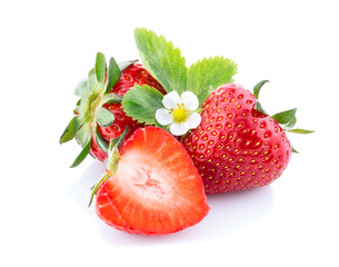 Strawberries with leaves and blossom.