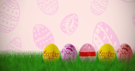 Composite image of multi colored easter eggs side by side