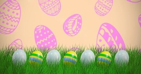 Composite image of easter eggs arranged side by side