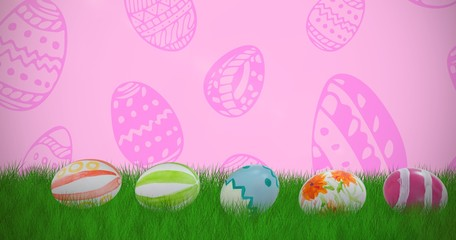 Composite image of colorful easter eggs arranged side by side