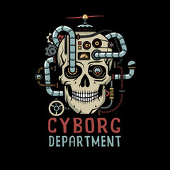 Steampunk Cyborg Skull with pipes, cables, devices, valves. Vector illustration on a black background.
