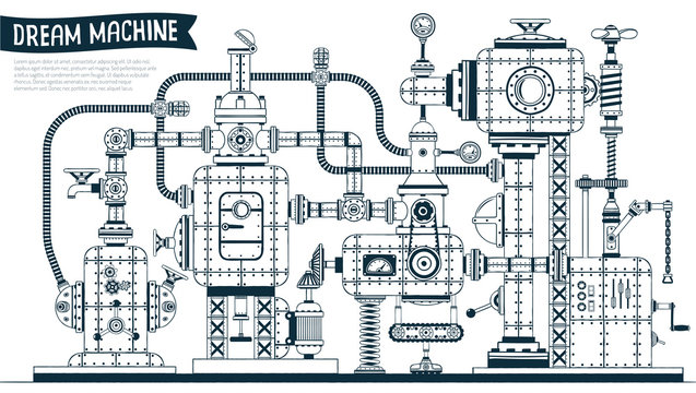Complex  fantastic steampunk machine or apparatus with many elements, pipes, wires, valves. Drawn in contours in the doodle style. Vector illustration.