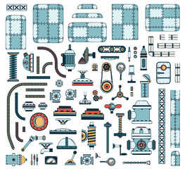 A large set of colored industrial spare parts to create steampunk machines and apparatus. Vector illustration.