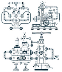 Fantastic industrial monochrome device set in a doodle style. Easy to disassemble into individual parts. Possible to collect other machines, as well as color them.