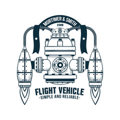 Fantastic flying machine with jet propulsion. Vector doodle illustration. Shadows on separate layer - easy to disable.