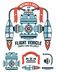 Fantastic flying machine as a logo with ribbon and inscriptions. Spare parts are included.