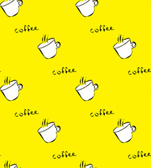 Seamless pattern with with white coffee cup on yellow background.