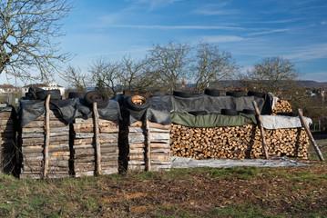 Wood Pile Preparing For Winter
